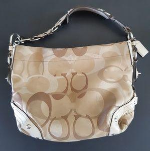 Coach jacquard Signature Beige White Handbag
